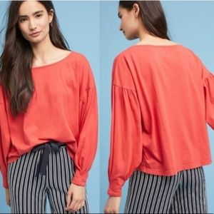 Anthro t.la Shae Boatneck Bubble Sleeve Red Top